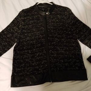 Ann Taylor Tweed and Faux Leather Jacket. FLAW